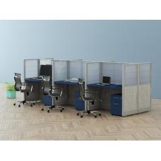Estaciones de trabajo modulares con mamparas